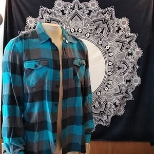Vans blue turquoise black flannel plaid button up